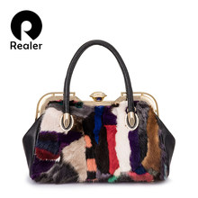 PLUS RÉEL sacs à main femmes vison de fourrure épaule sac En Cuir Véritable  haut-poignée sac dames Grand messenger sacs fourre-t. 493bdfd671f6