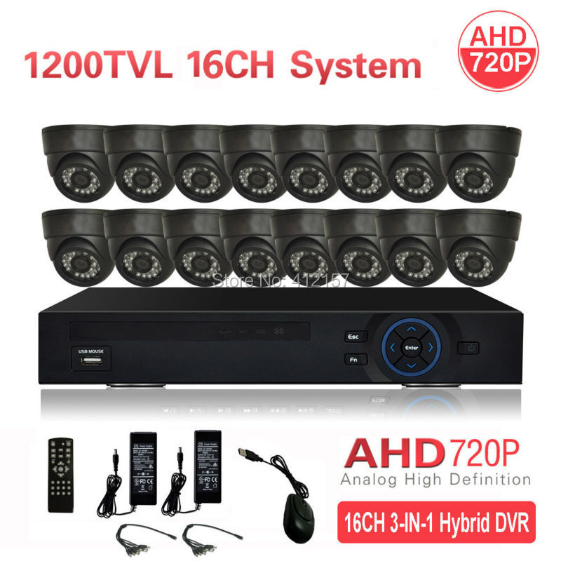 CCTV Indoor 16CH AHD 720P Security Camera System 5-IN-1 Hybrid 3G WIFI DVR HVR NVR Home Video Surveillance Kit P2P mobile View  security cctv outdoor waterrpoof 1200tvl ahd 720p camera system 4ch hdmi hybrid dvr home video surveillance kit p2p mobile view
