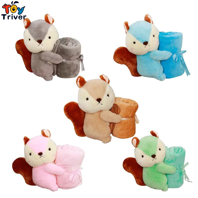 Plush Squirrel Portable Blanket Stuffed <font><b>Toy</b></font> Doll Baby Shower Car Air Condition Travel Rug Office Nap Carpet Birthday Gift Triver