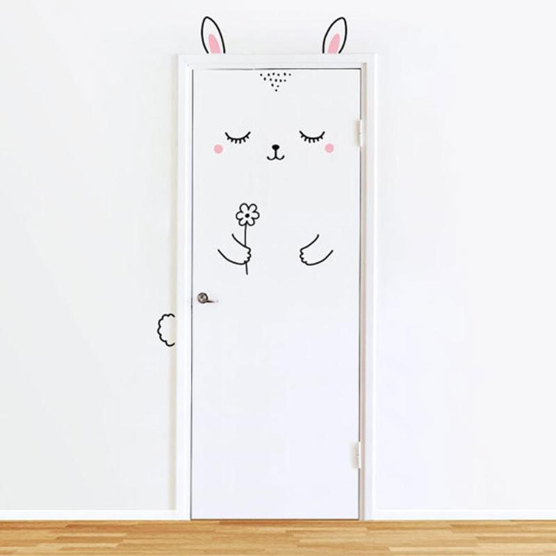 Cute Cartoon Rabbit Decal Wall Sticker for Shop Office Home Cafe Hotel DIY Toilet Door Stickers