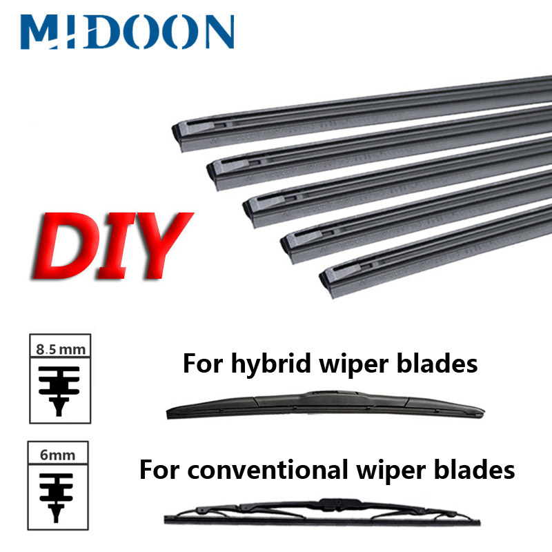 "MIDOON 1pcs Car Insert Rubber Strip Windscreen Wiper Blade (Refill) 8.5mm/6mm Soft 14"" 16"" 17"" 18"" 19"" 20"" 21"" 22"" 24"" 26"" 28""(China)"
