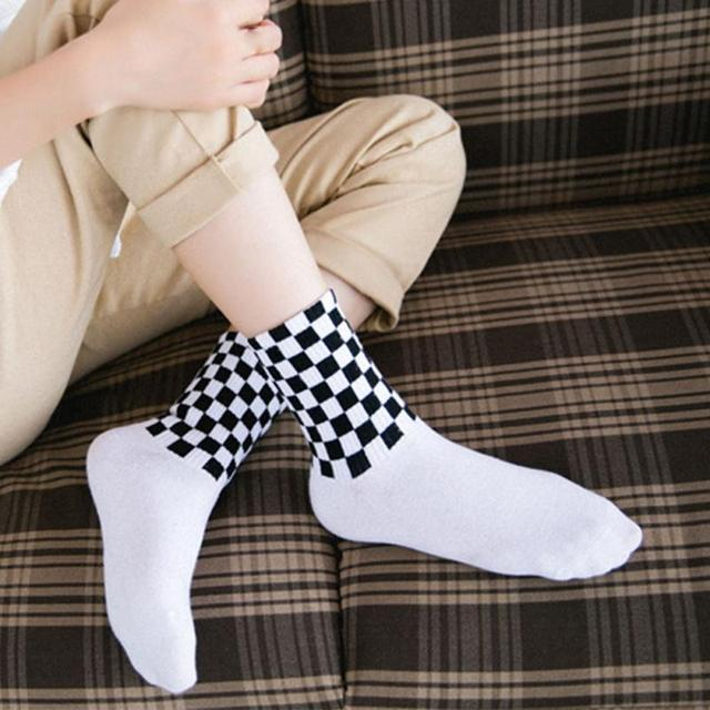 Underwear & Sleepwears 1 Pair Unisex Socks South Korea Ins Harajuku Street Checkered Socks Hip Hop Trends Man & Women Skateboard Cotton And To Have A Long Life.