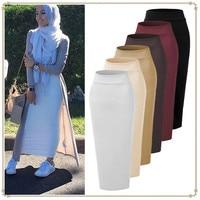Muslim Fashion Thickening Cotton Pencil Skirt High Waist Islamic Skirts Bodycon Muslim Bottoms Solid Long Elastic Bandage Skirt