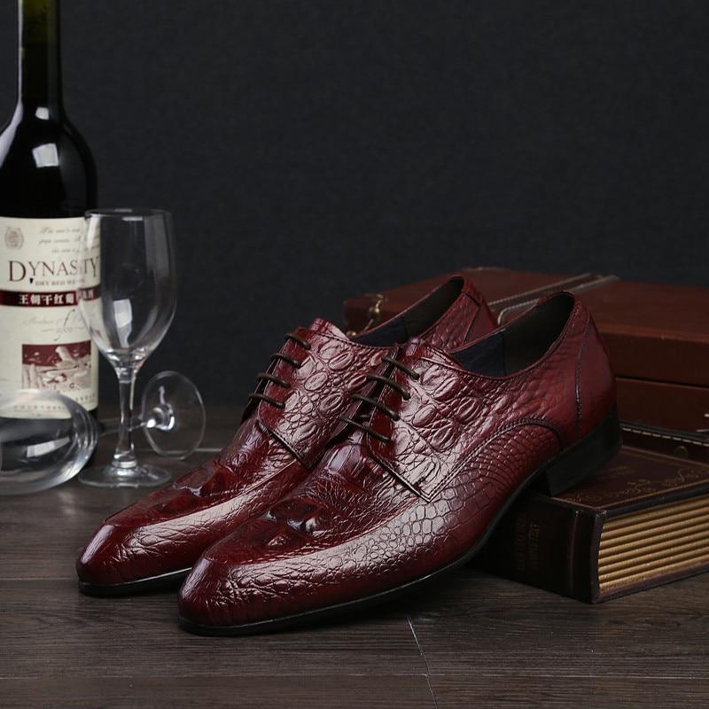 En red Chaussures Black D'affaires Véritable De Dentelle Robe Pjcmg Mariage Oxford automne Printemps Bout Hommes noir Pointu Cuir up Rouge wxHzRgxq