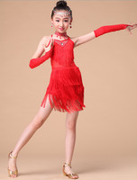 Free Shipping Sequin Fringe Blue Pink Red Salsa Dress Child Girls Kids Latin Dresses Girls Tassel