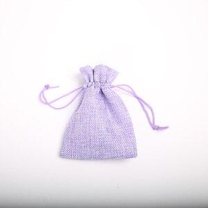 Image 2 - 9*12 cm imitação de linho grupo bolso casamento feriado natal presente saco jóias porca linho saco 100 pçs