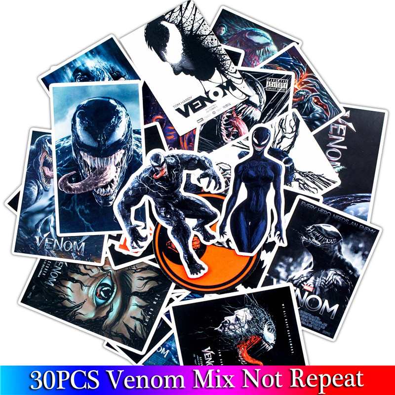 30PCS Pack 2018 New Marvel Stickers Set Venom Stickers For Kids Luggage Skateboard Laptop Graffiti Funny Sticker Anime Stickers
