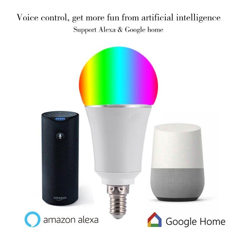 Купить с кэшбэком 7W Wireless WiFi Smart LED Bulb E14 RGB Bulb Support Alexa Google Home Voice Control 9W LED Lamp