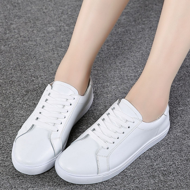 DONGNANFENG Women Female Ladies Girl Student Genuine Leather White Shoes Flats Lace Up Soft Vulcanized Shoes Korean 35-40 MF-863 2