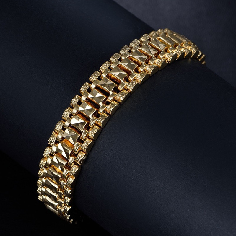 Male Bracelet Women Jewelry 12MM Pulseira Masculine Trendy Gold Color Chunky Chain Link Bracelet Wholesale Bileklik For Man P166 15