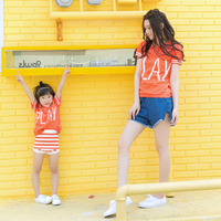PLAY Knitted Polo T Shirts Mother And Daughter Son Family Clothing Summer Autumn Mommy And Me