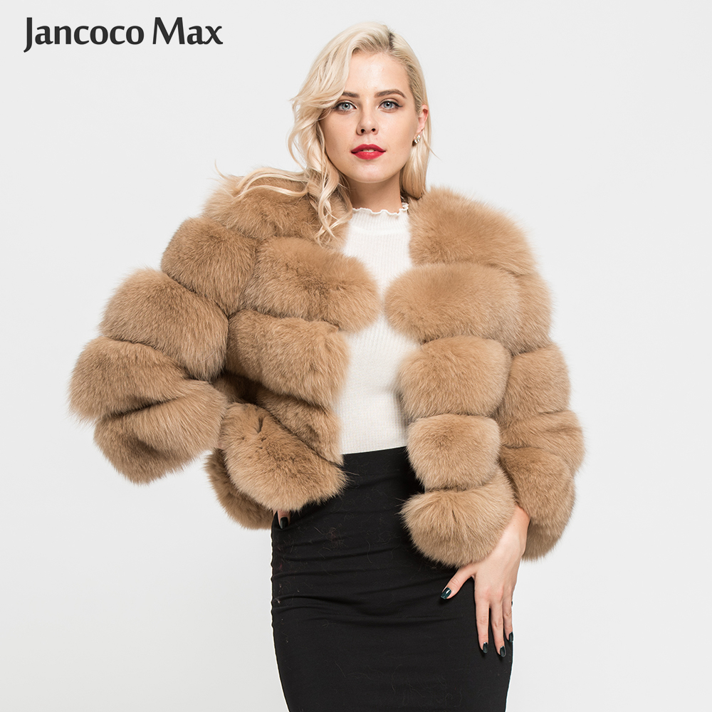 Jancoco Max 2018 Ladies's Coats Actual Pure Fox Fur 5 Rows Coat Excessive High quality Outwear Winter Thick Heat Vogue Crop Jacket S1796