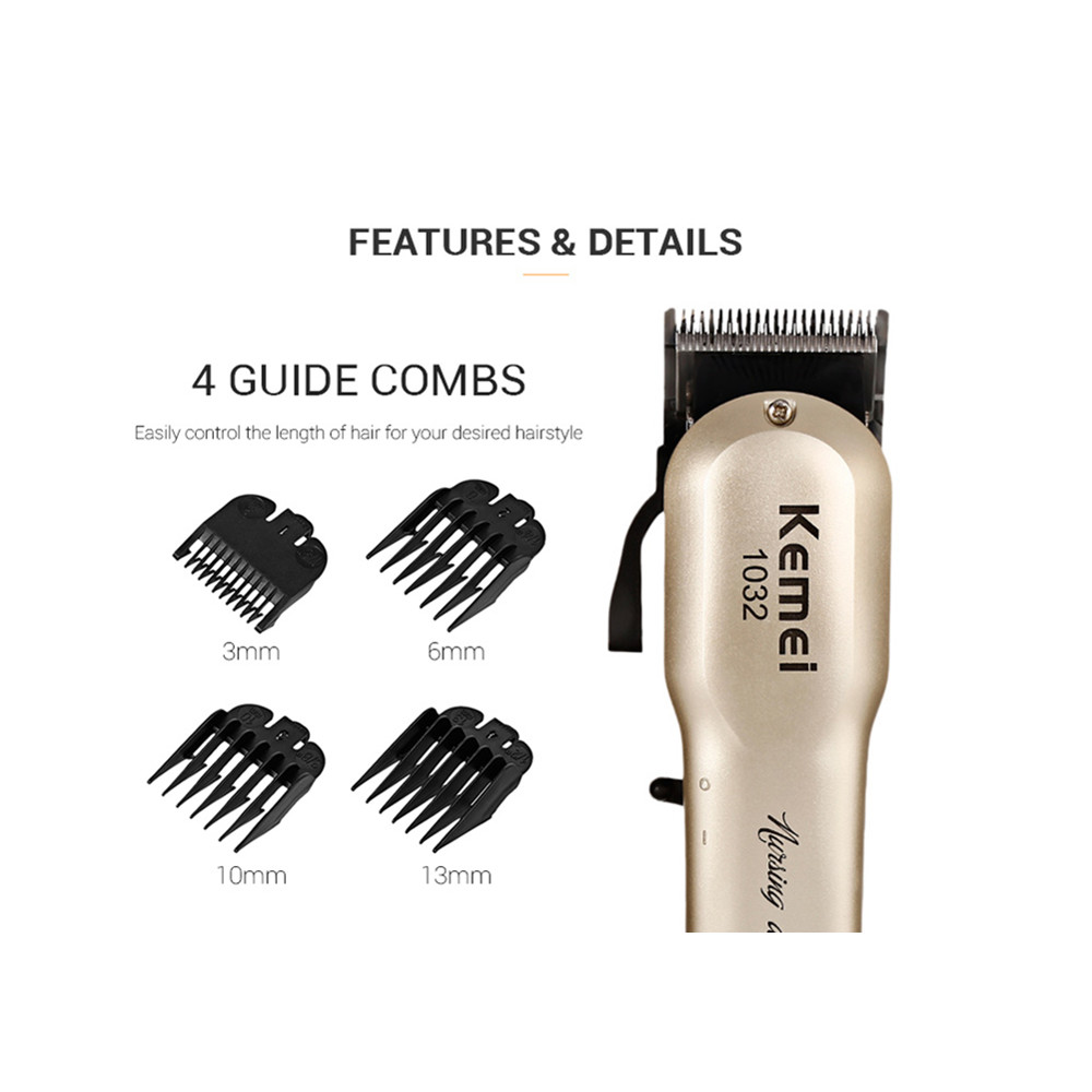 Kemei Powerful Hair Beard Trimmer Professional Electric Hair Clipper Razor Cordless Hair Cutting Machine With Combs Barber 1