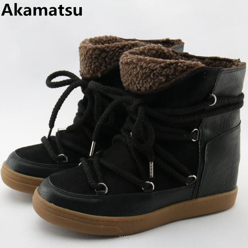 цена Winter Warm Fur Snow Boots Black Brown Leather Women Wedge Ankle Boots Lace Up Height Increasing Outdoor Casual Shoes Woman