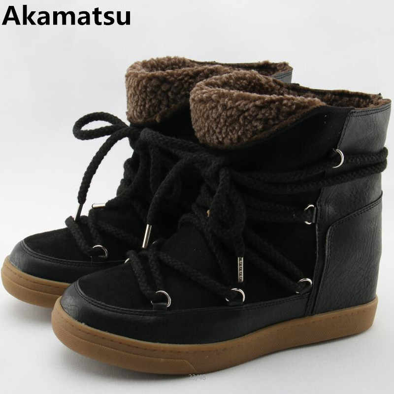 27c4d6122 Winter Warm Fur Snow Boots Black Brown Leather Women Wedge Ankle Boots Lace  Up Height Increasing
