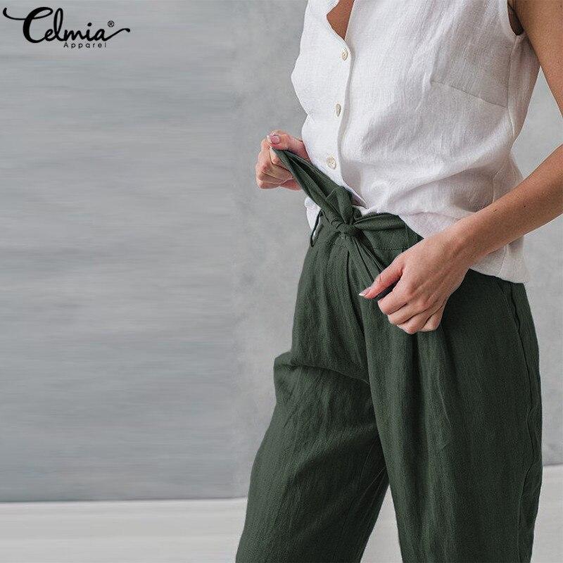 3f0e326dda6 Plus Size Celmia Women Cotton Linen Harem Pants Pockets Baggy Summer Trousers  Female Casual Work Office Pantalon Palazzo Pants