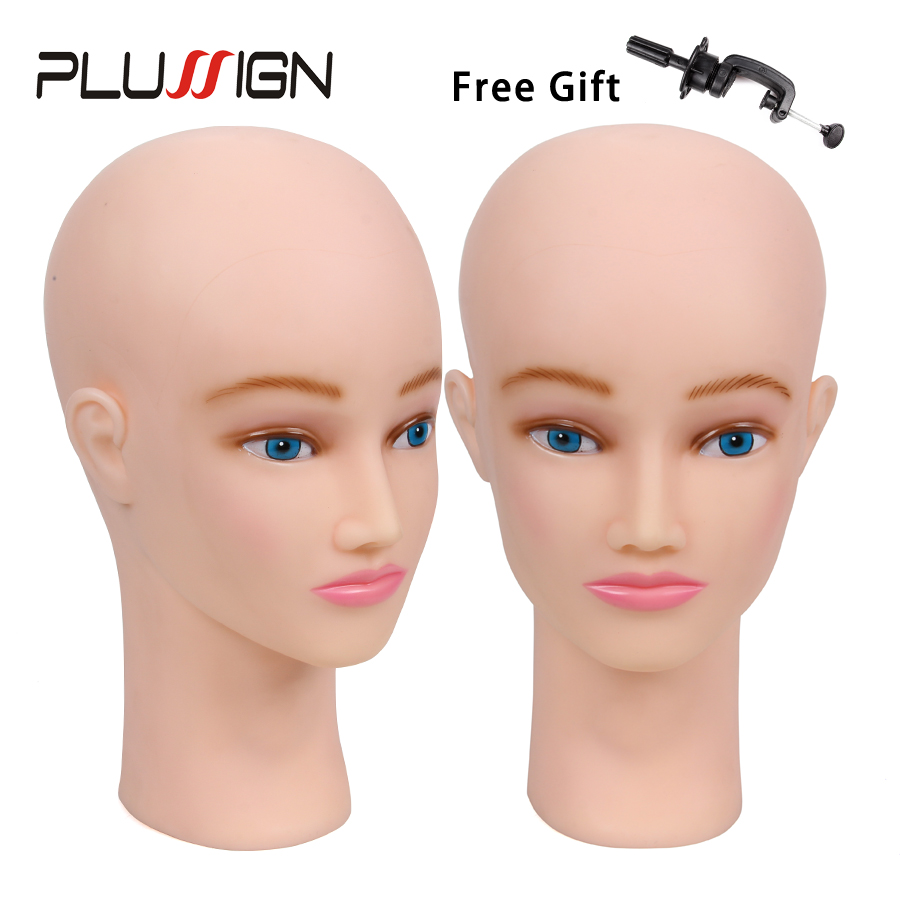 Bald Mannequin Head With Table Clamp And T-pin For Wig Making Best Cosmetology Manikin Model Doll Head For Wig Hat Display Aromatic Flavor Hair Extensions & Wigs Wig Stands