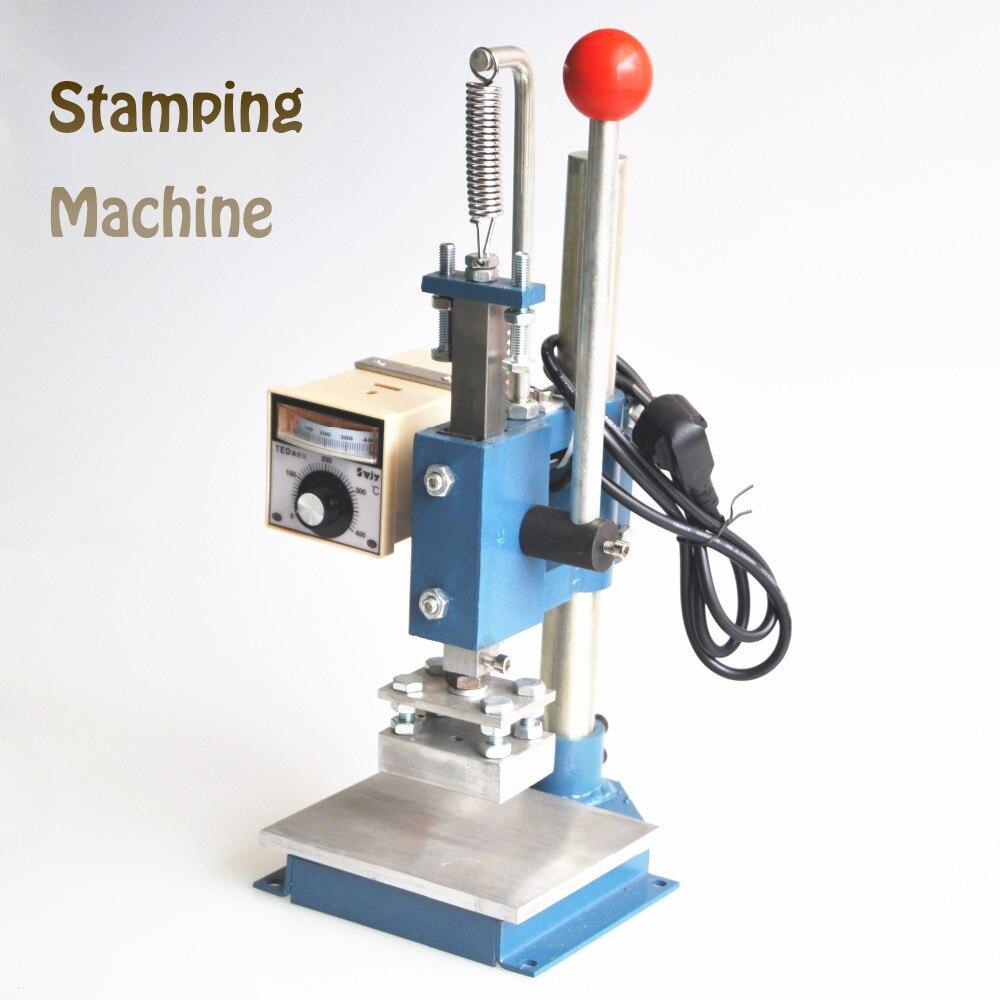 1Set Manual hot foil stamping machine foil stamper leather printer marking press embossing machine 8x10cm