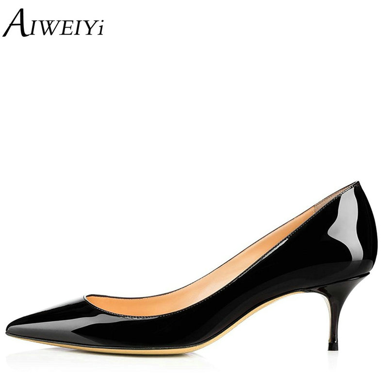 AIWEIYi Women High Heel Pump Shoes 2018 Pointed toe Med Heel High Heels Patent Leather Slip On Platform Pumps Lady Wedding Shoes newest flock blade heels shoes 2018 pointed toe slip on women platform pumps sexy metal heels wedding party dress shoes
