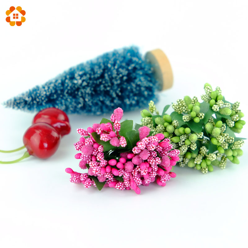 12pcs Artificial Stamen Bud Berry DIY Crafts flower for Wedding Party Candy Box Decoration Scrapbooking wreaths Fake Flowers in Artificial Dried Flowers from Home Garden