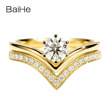 BAIHE Solid 14K Yellow Gold(One Set)  0.67CT Certified Round 100% Genuine Natural Diamonds Women Trendy Fine Jewelry unique Ring 1