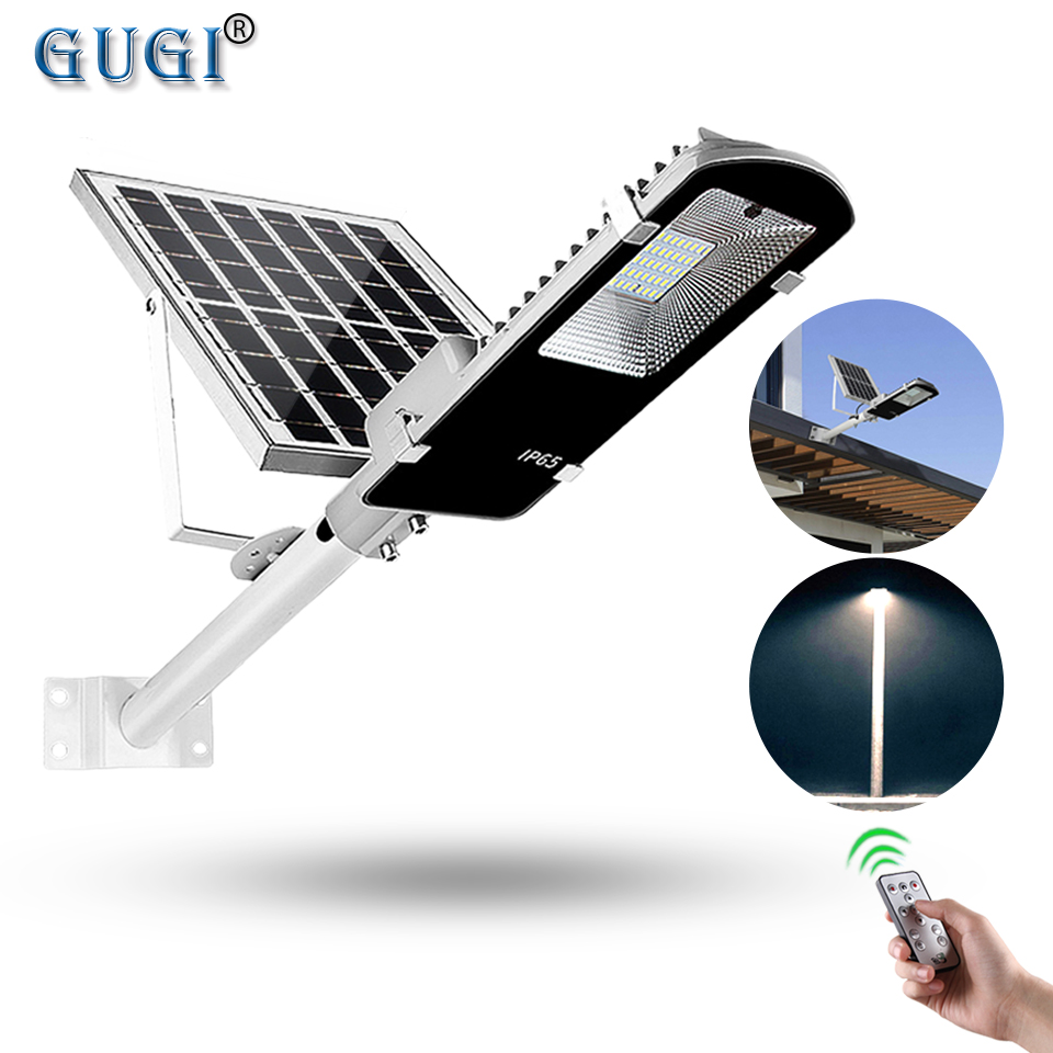 Outdoor Solar Led Street Light With Bright LEDs Waterproof IP65 Remote Control For Garden Light Pole