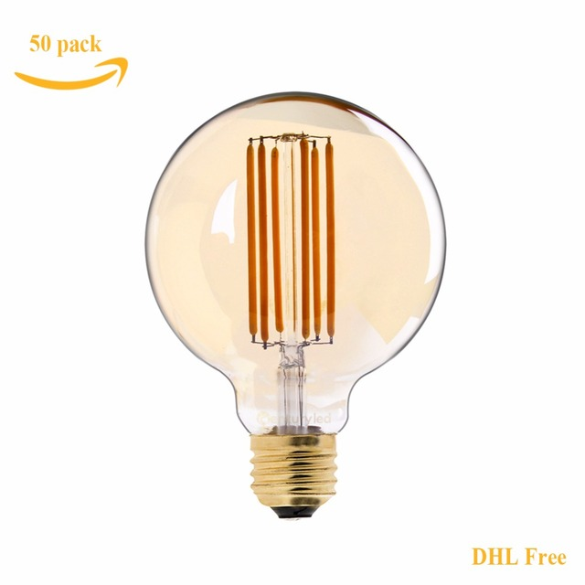DHL Free,Retro LED Long Filament Bulb,6W 2200K,Gold Tint,Edison G95 Globe Lamps,Decorative Lighting For Home,Dimmable
