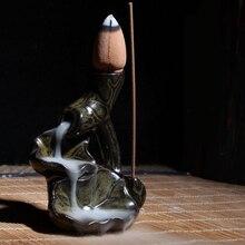 Water Lily Ceramic Glaze Incense Burner Holder Buddhist Cones Backflow Censer Home Decor