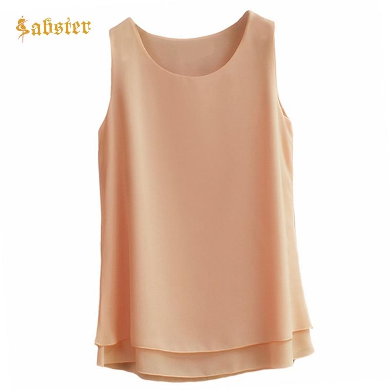 2019 Summer Women Chiffon Blouse Sleeveless O-Neck Casual Female Blouses Plus Size 6XL Solid Color Shirts Kz656
