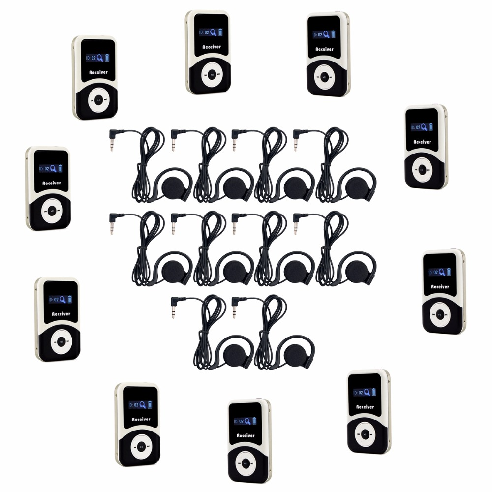 10pcs Receiver+10pcs Earpiece for Wireless Tour Guide System Tour Guiding Simultaneous Translation Interpretation F4505 blueskysea atg100 wireless tour guide system 1transmitter 15 receivers charger for meeting visiting teaching 195 230mhz portable