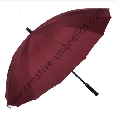 16 ribs,straight metal golf umbrellas 14mm metal shaft,business umbrella,parasol,auto open,windproof,straight leather handle