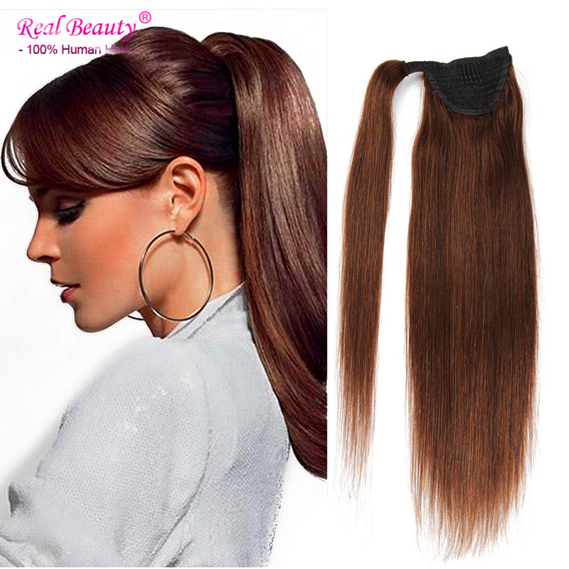 Ponytail Human Hair Extension 20 inches Afro Ponytails Clip in Human Hair Extensions Pure Straight Color Human Hair