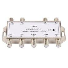 DS81 8 em 1 Receptor de Sinal de Satélite Chave DiSEqC LNB Multiswitch Heavy Duty Die-cast de Zinco Cromado Tratada