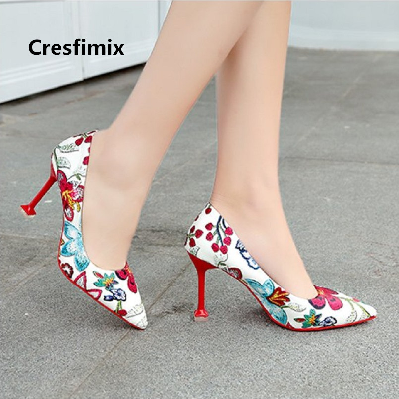 Cresfimix Femmes Hauts Talons Women Fashion Comfortable Pu Leather Slip On High Heel Shoes Lady Cute Floral High Heels A2426