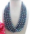 Hermosa 4 row 10 MM collar de perlas negro