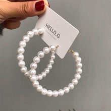 Fashion Simulated Pearl Statement Big Small Hoop Earrings for Women Exaggerate Circle Earrings Personality Nightclub Jewelry(China)