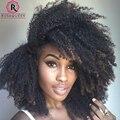 Afro Kinky Curly Grampo Em Extensões Do Cabelo Humano 7 Pçs/set Natural Kinky Curly Grampo Em Extensões Do Cabelo Encaracolado Brasileira Clipe Ins