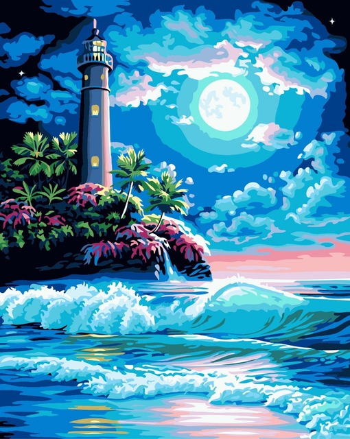 Moonlight Ocean Painting By Numbers Cuadros Decoracion Home Decor Wall  Pictures For Living Room Diy Oil