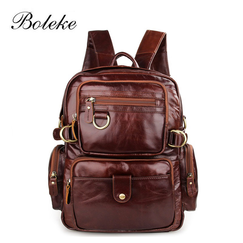 High Quality Vintage Unisex 100% Guarantee Real Genuine Leather Backpack Men Women Fashion Designer Brand Travel Bags 7042 aiweiyi womens high quality genuine leather real fur 100