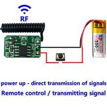 Rf 433 mhz 원격 제어 마이크로 송신기 모듈 미니 소형 3.7 v 4.5 v 6 v 9 v 12 v 배터리 전원 무선 스위치 액세서리