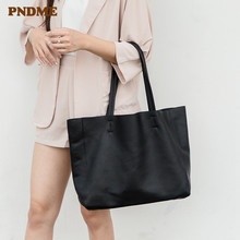 PDNME soft genuine leather ladies tote bag shoulder simple retro large capacity black womens weekend shopping handbag
