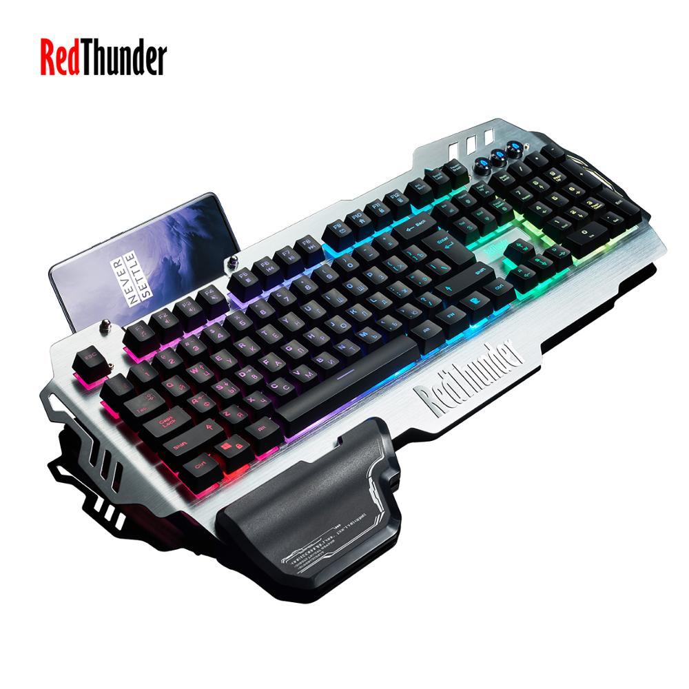 RedThunder K900 Gaming Keyboard RGB Illuminated Backlit Mechanical Similar Ergonomic Phone Holder Hand Rest For PC Gamer(China)