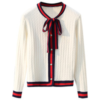 Black White Red Outwear Women 2018 Luxury Design Autumn Knitted Cardigan Womens Bow Twist Pearl Bottons Stripe Edge Sweater