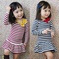 Primavera verano 2016 nueva ropa de los niños del bebé de rayas arco vestido ocasional de la muchacha de manga larga Vestido de Princesa