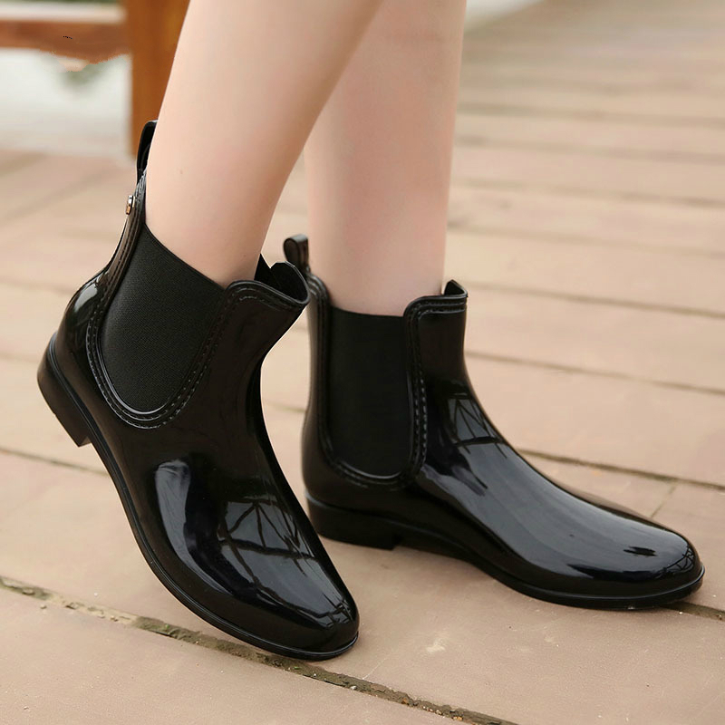 Image 4 - wenjie brother Women Fashion PVC Soft Elastic Band Rainboots Short Ankle Flat Heels Rain Boots Waterproof Water Shoes-in Ankle Boots from Shoes