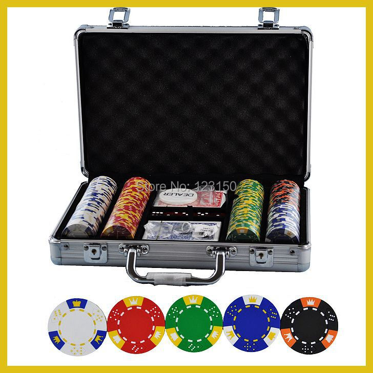 PK-5001  200pcs chips with case,  Clay 14g Poker Chips insert metal, five  colors 50 clay composite striped dice 11 5 gram poker chips by brybelly