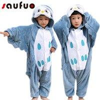 Kigurumi Wolf Owl Pajamas For Kids Girls Boys Warm Soft Pijama One Piece Animal Winter Sleepwear