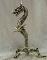9 China silver carved finely beautiful carved spiral dragon Sculpture Statue