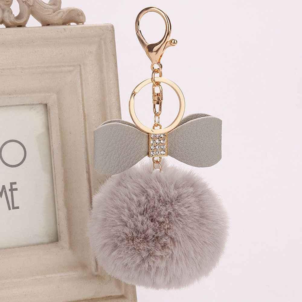 Bonito Fluffy Plush Bola Arco Mulheres Pingente de Chave Anel Titular Do Falso Pele De Coelho Pompons Chaveiro Para Bolsa Chaveiro Charme keychain