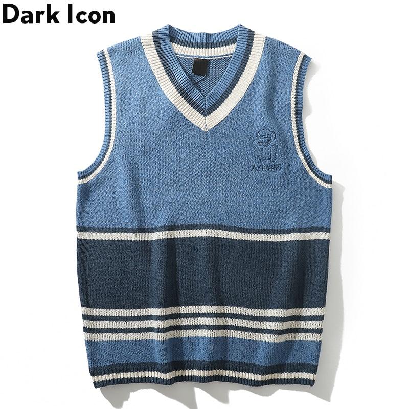 Dark Icon Striped V-neck Men's Sweater Sleeveless Letters Printing Sweater Men